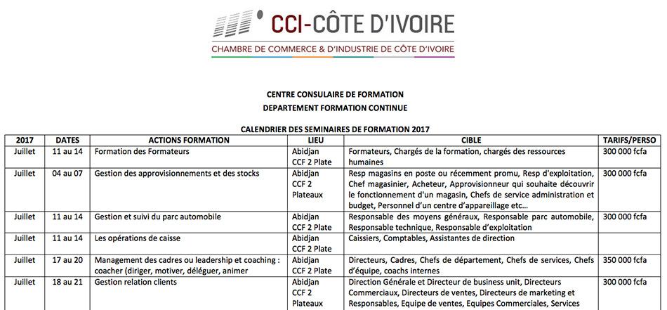Commuiqu Chambre De Commerce Et DIndustrie De Cte DIvoire